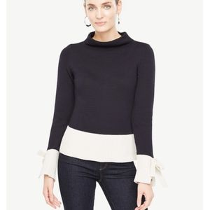 Ann Taylor Color Block Tie Sleeve Sweater